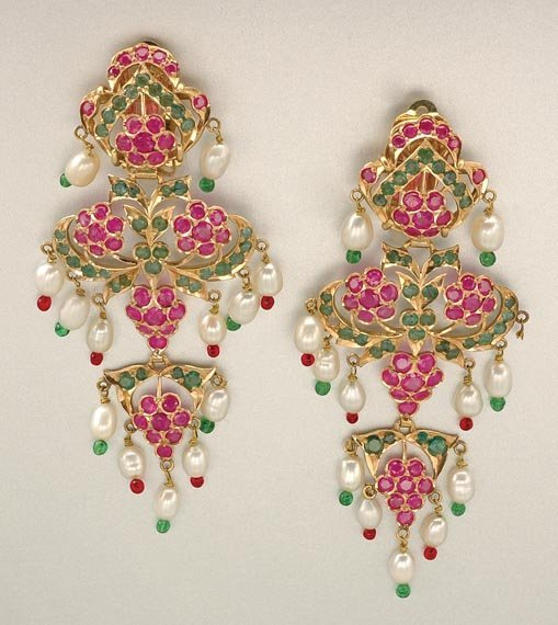 1022: Pair of Gold, Ruby, Emerald, Biwa Pearl and Glass