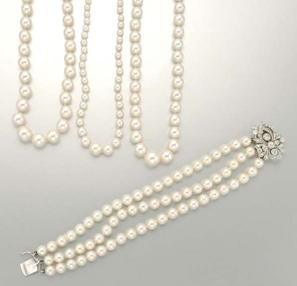 1023: Three Cultured Pearl Necklaces and Bracelet