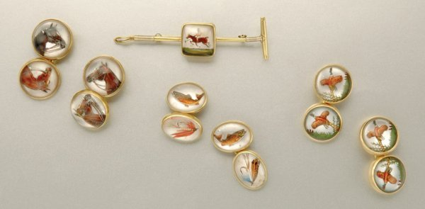 1120: Three Pairs of Gold and Reverse Crystal Intaglio