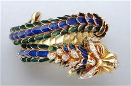 1454A Gold Enamel Diamond and Ruby Dragon Bangle