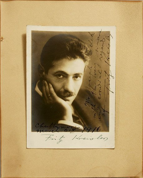 3005: KREISLER, FRITZ Photograph inscribed to Joseph Ch