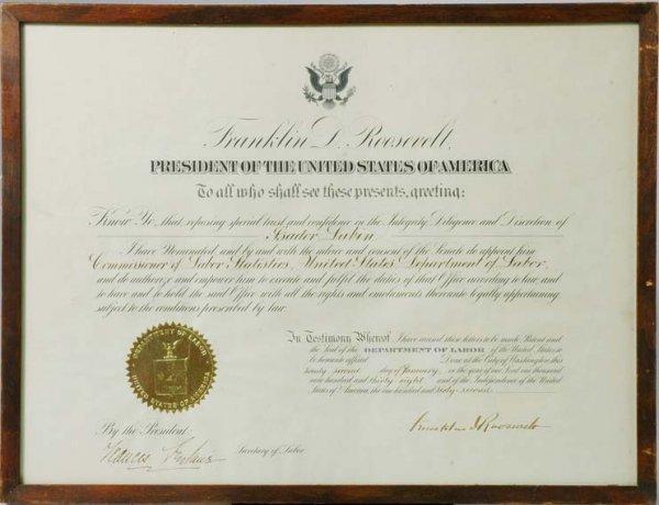 3009: ROOSEVELT, FRANKLIN D. Document signed, one page,