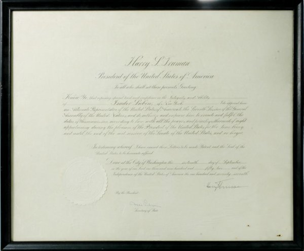 3010: TRUMAN, HARRY S. Document signed, one page, Washi
