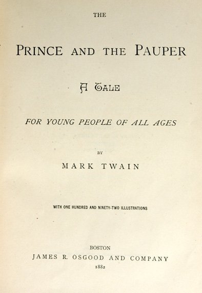 3022: CLEMENS, SAMUEL L. [MARK TWAIN] The Prince and th
