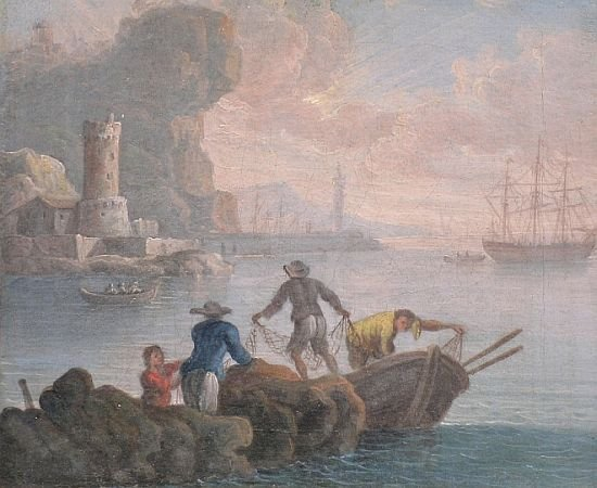 21: School of Vernet FISHERMEN WITH NETS   Oil on canva