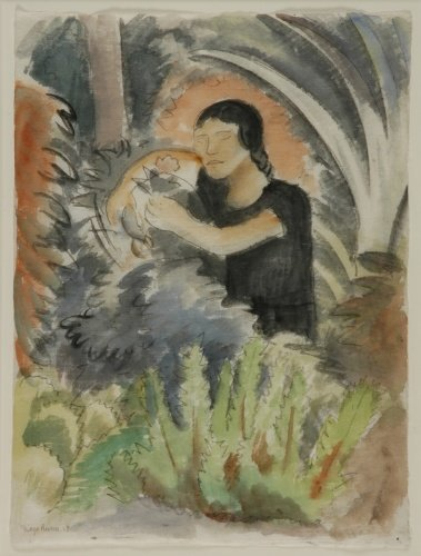 1009: Diego Rivera Mexican, 1886-1957 WOMAN WITH FLOWER