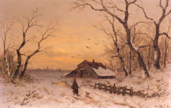 2017: Heinz Flockenhaus German, 1858-1921 WINTER SUNSET