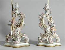 2496 Pair of Continental Rococo Style Gilt and Polychr