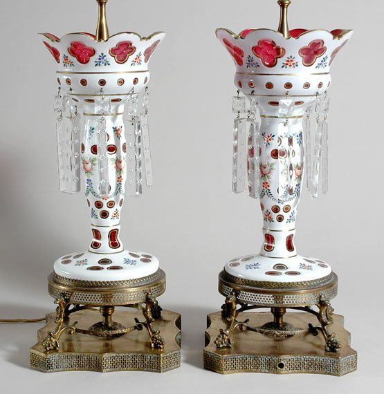 2661: Pair of Bohemian Style Gilt and Enamel Decorated