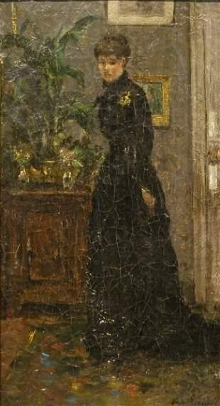 Continental School Late 19th century WOMAN IN BLA
