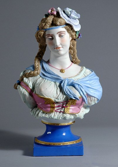 3317: Continental Bisque Porcelain Bust of a Young Woma