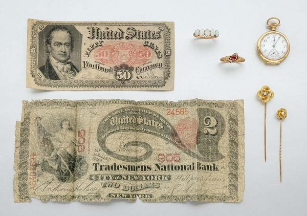 2: Group of Jewelry and Paper Currency