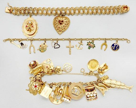 8B: Three Gold Charm Bracelets