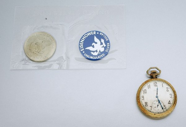 10: Gold-Filled Openface Pocketwatch and Eisenhower $1