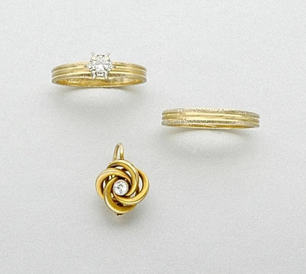 14: Diamond Ring, Gold Band Ring and Single Gold and Di