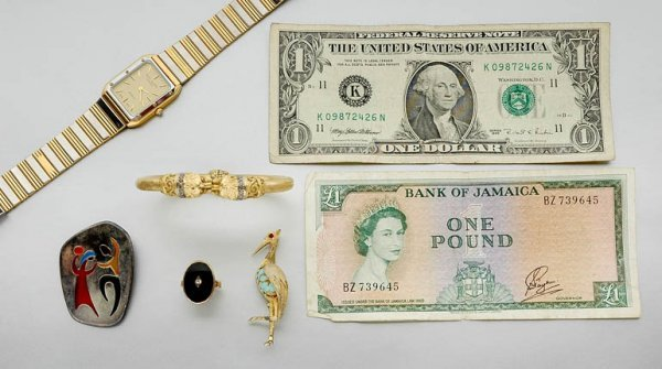 144: Assorted Group of Gold and Metal Jewelry and Watch
