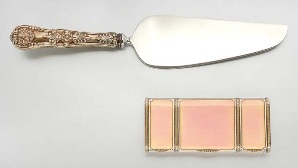 230A: Pink Enamel and Diamond Vanity and Sterling Silve