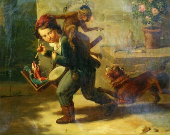 1017: French School 19th Century NARROW ESCAPE