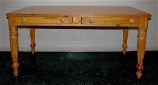 1120: Victorian Style Pine Two-Drawer Side Table