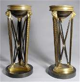 1261: Pair of Neoclassical Style Gilt and Patinated-Bro
