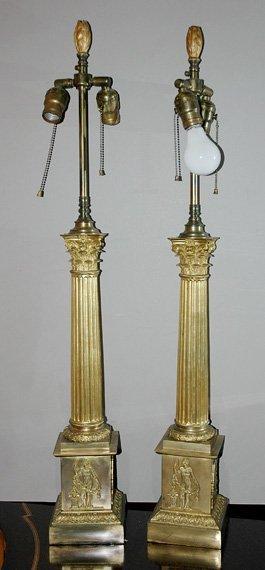 1344: Pair of Neoclassical Style Gilt-Metal Columnar La