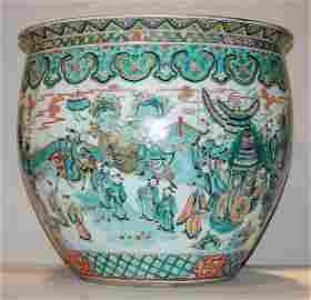 1555: Chinese Famille Verte Porcelain Fish Bowl