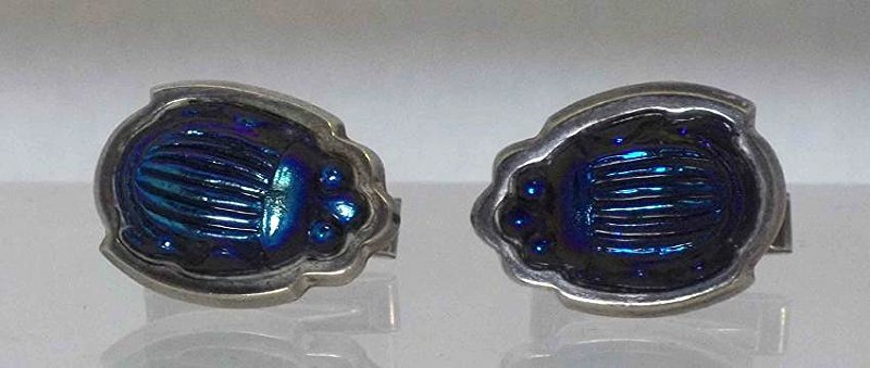 Tiffany & Co Sterling Silver Favrille Scarab Cufflinks