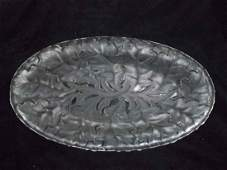Lalique Oval Platter Oak Leaf Chene Pattern