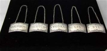 Williamsburg Sterling Silver Liquor Label Set