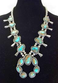 Vintage Sterling Silver & Turquoise Squash Blossom