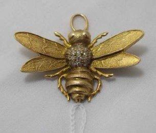 14K Gold & Diamond Bee Pin Pendant