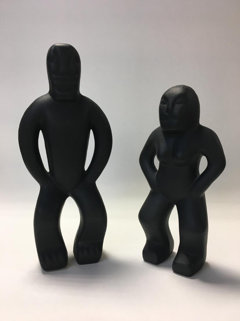 Mid Century Stylized Man & Woman Ceramic Figures