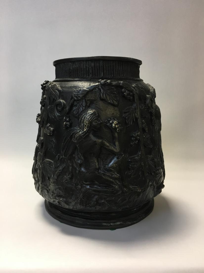 Bronze Woman & Grapes Vase