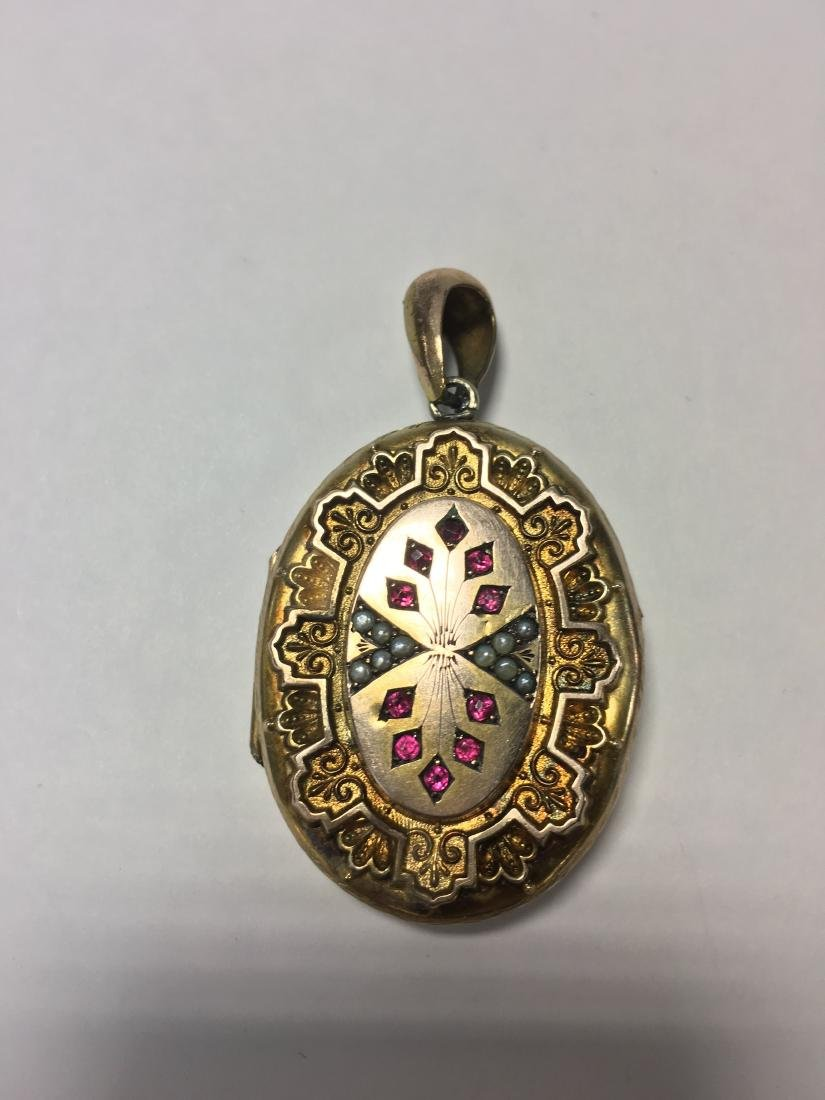 Victorian Ruby & Seed Pearls Gold Filled Locket