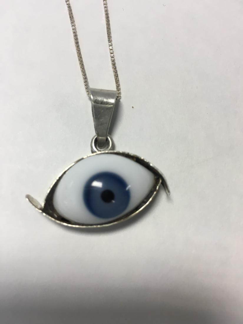 Glass Evil Eye Set in Sterling Silver