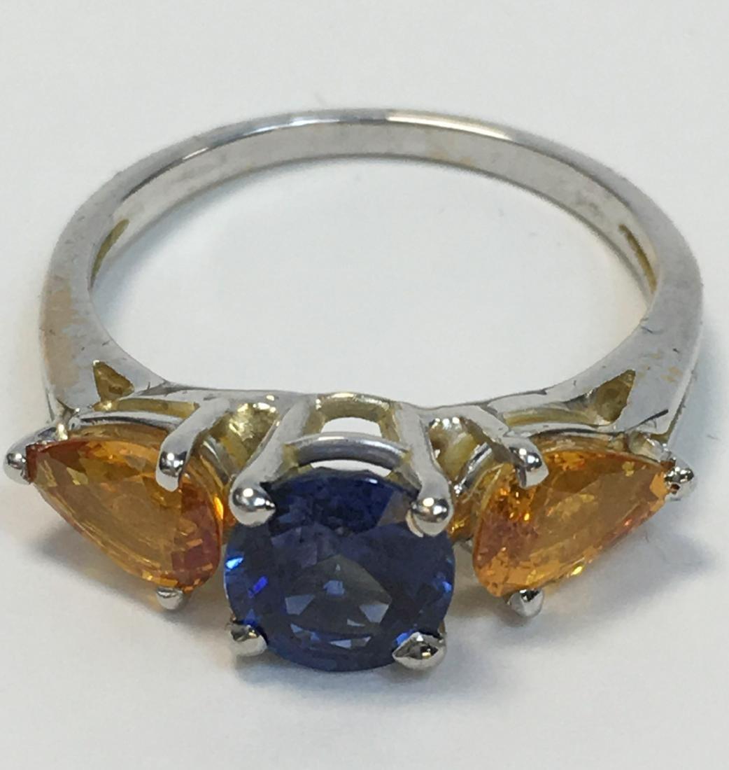18K Gold Ceylon Blue Sapphire & Yellow Sapphire Accents