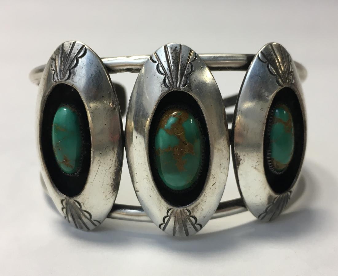 Native American Zuni Sterling Silver & Turquoise Cuff