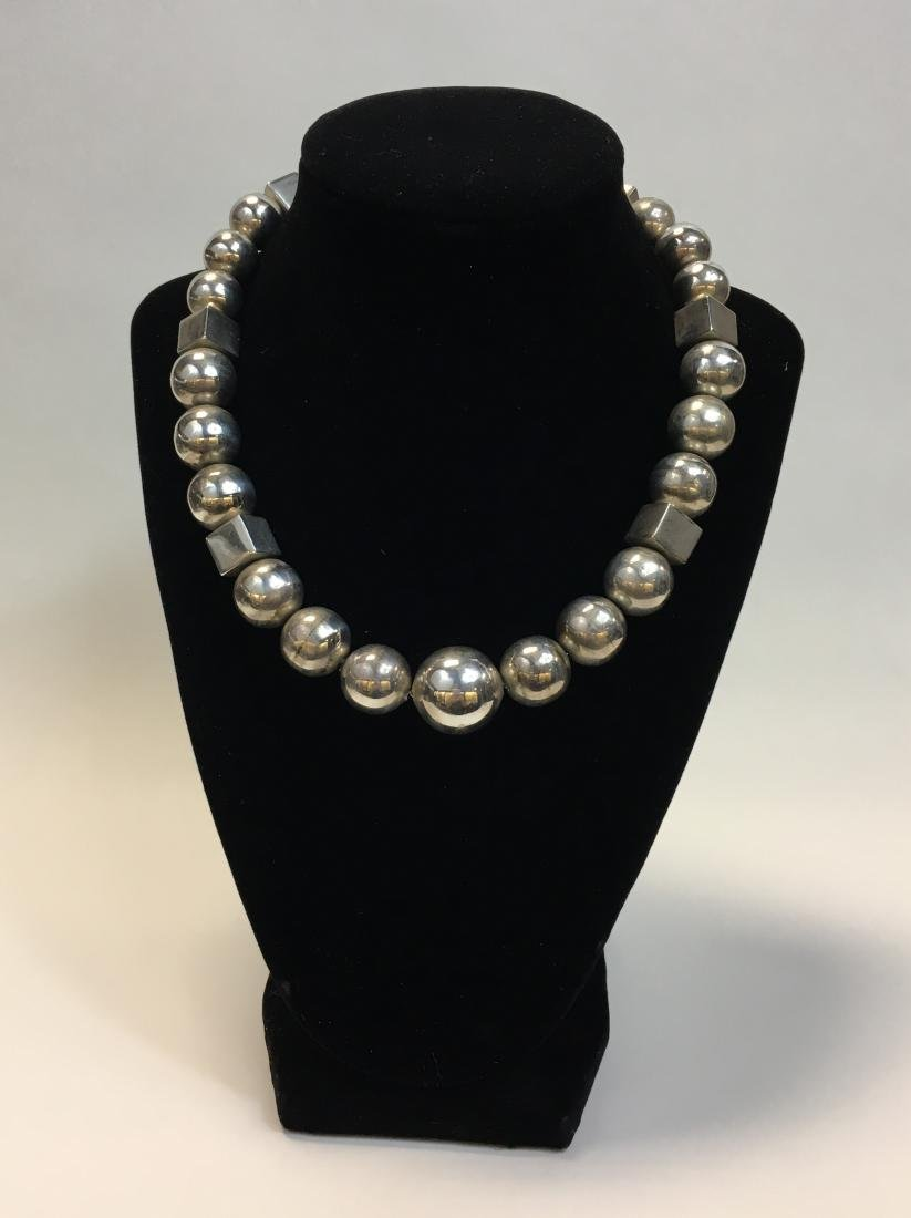 Vintage Geometic Mexican Sterling Silver Bead Necklace