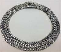 Chunky Mexican Sterling Silver Link Collar Necklace
