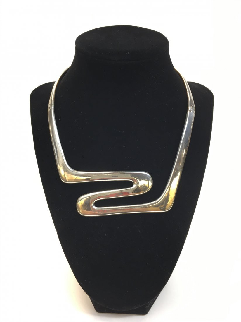 Mexico Modernist Sterling Silver Choker Necklace
