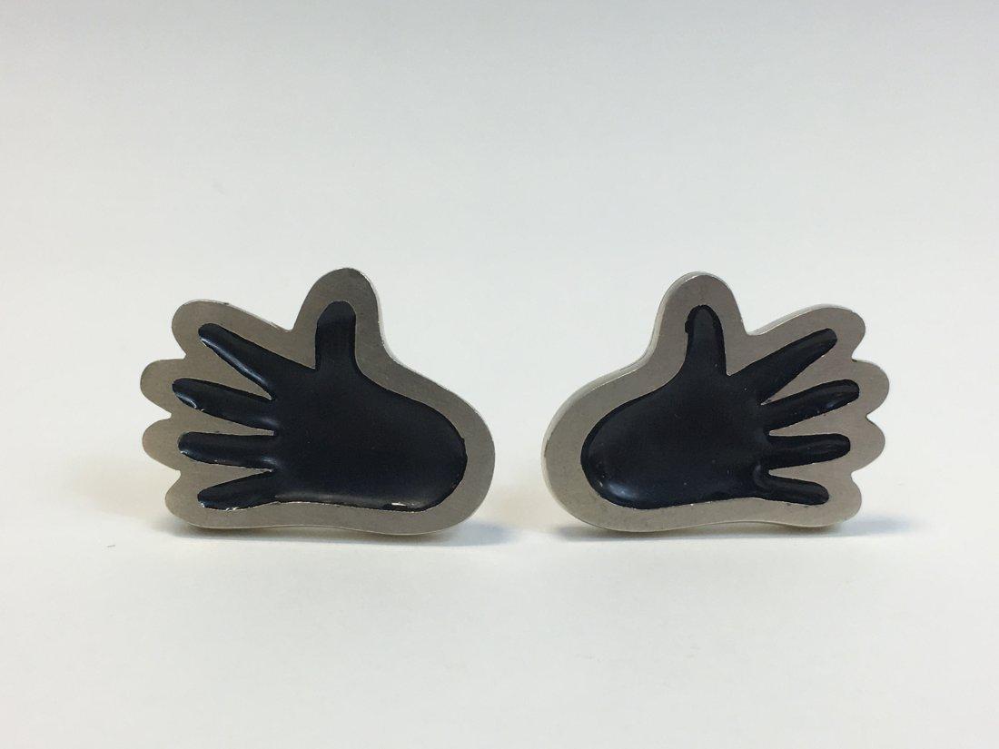 Joaquin Mexican Sterling Silver Enamel Hand Cufflinks