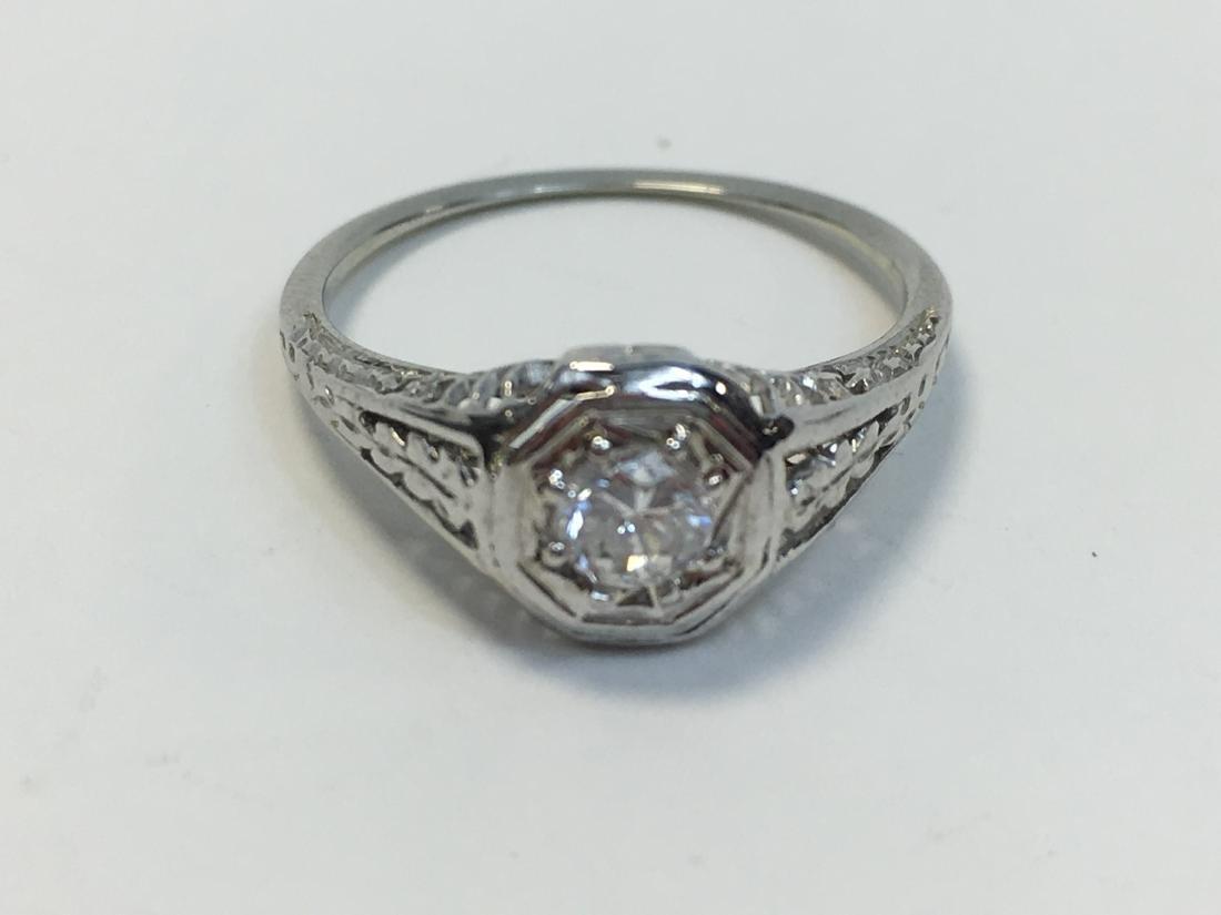 Edwardian 18K Gold Solitaire Diamond Ring