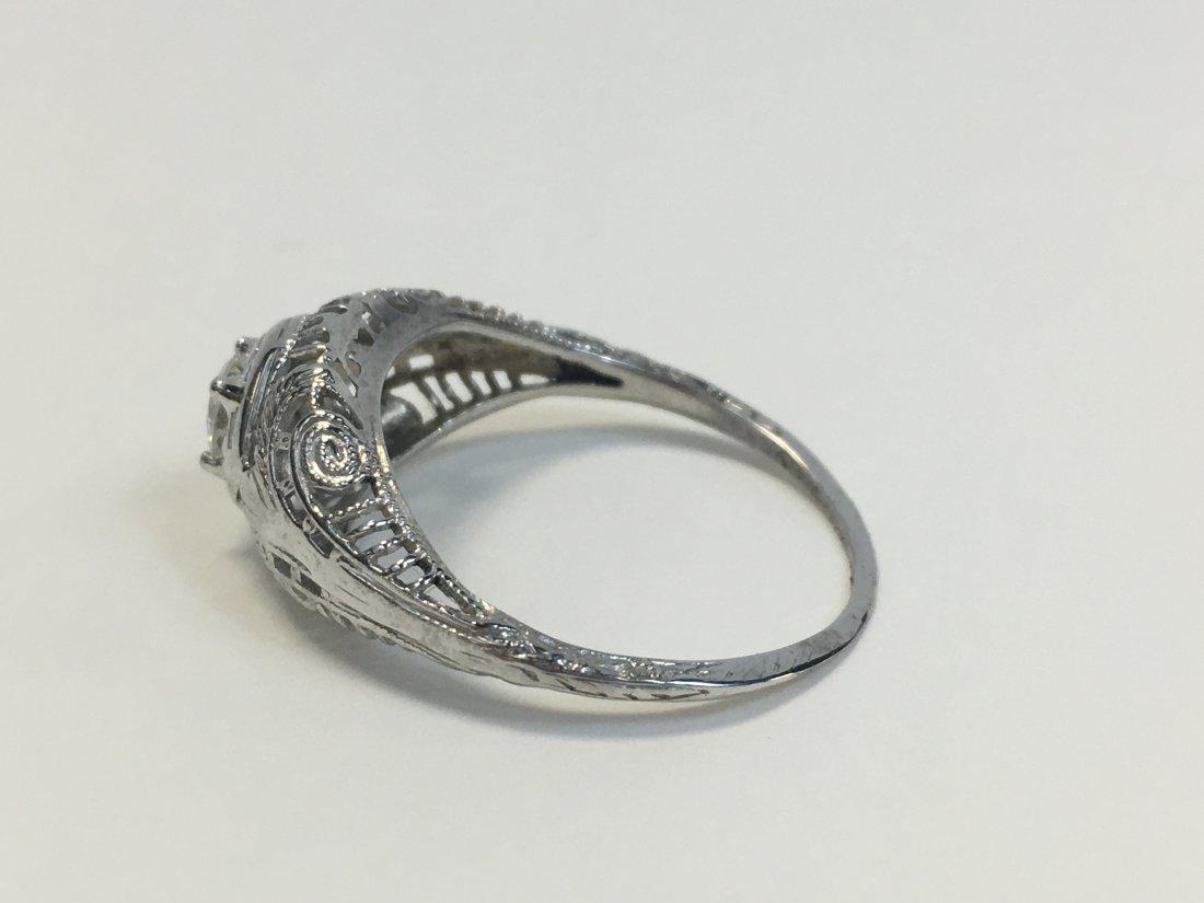 Edwardian 18K Gold Solitaire Diamond Ring - 2