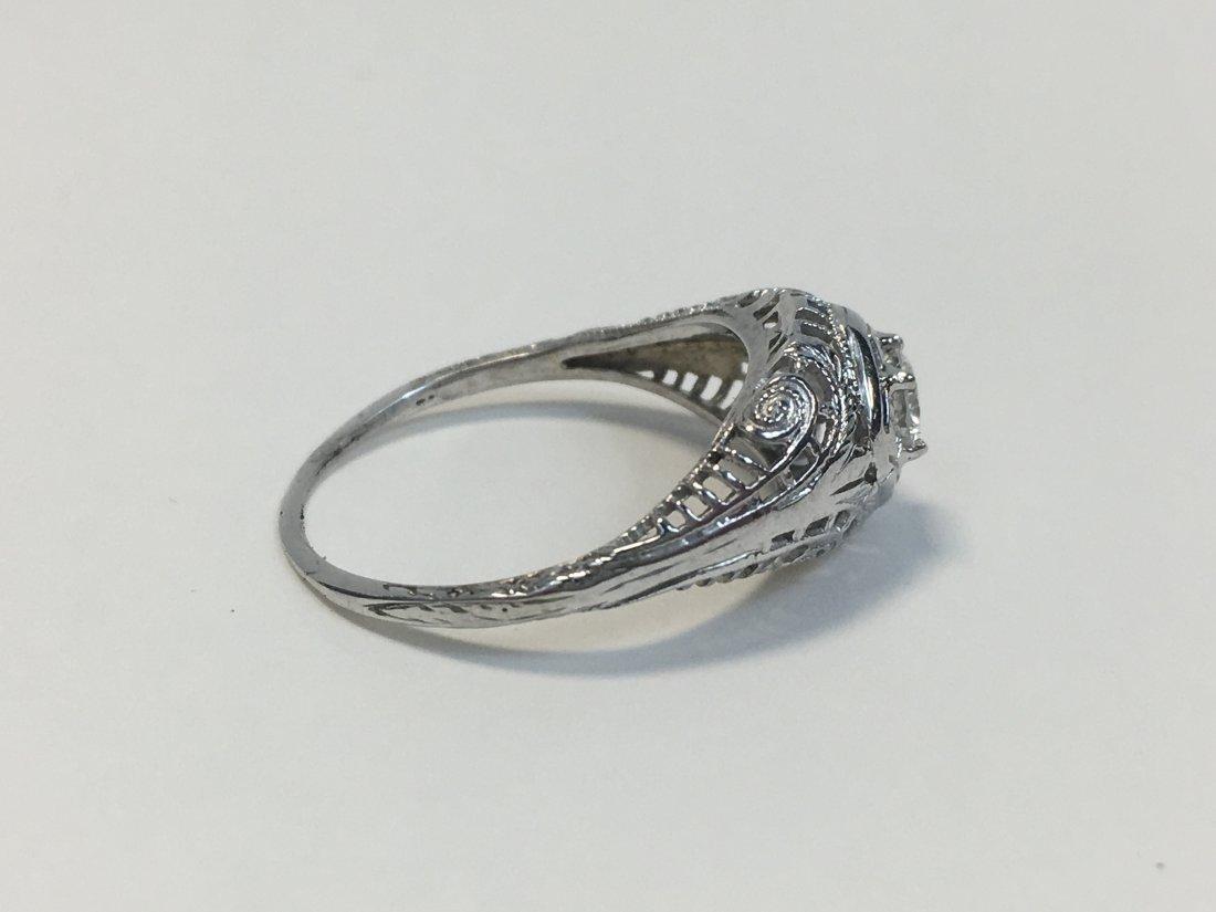 Edwardian 18K Gold Solitaire Diamond Ring - 3