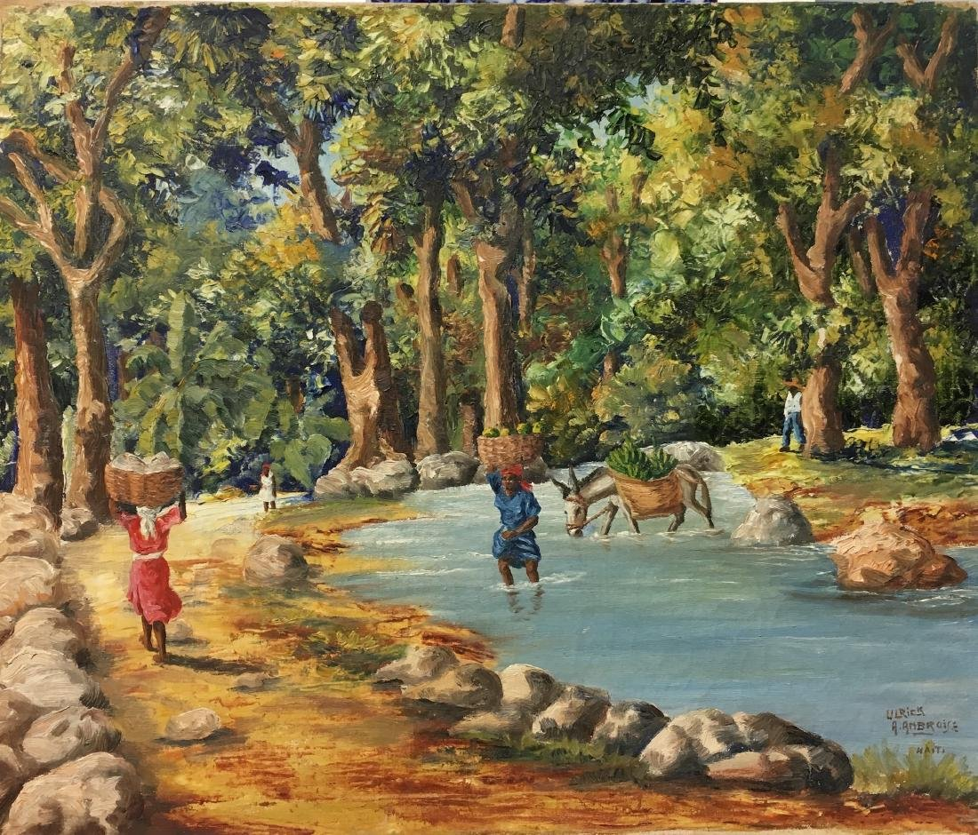 Ulrick A. Ambroise (haitian,20th Century) Oil Painting
