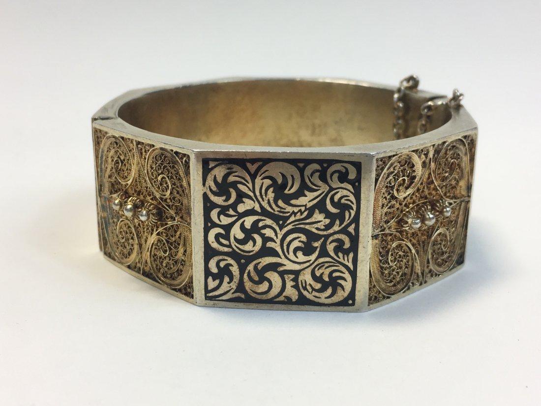 Vintage Topazio Sterling Silver Vermeil Enamel Bracelet