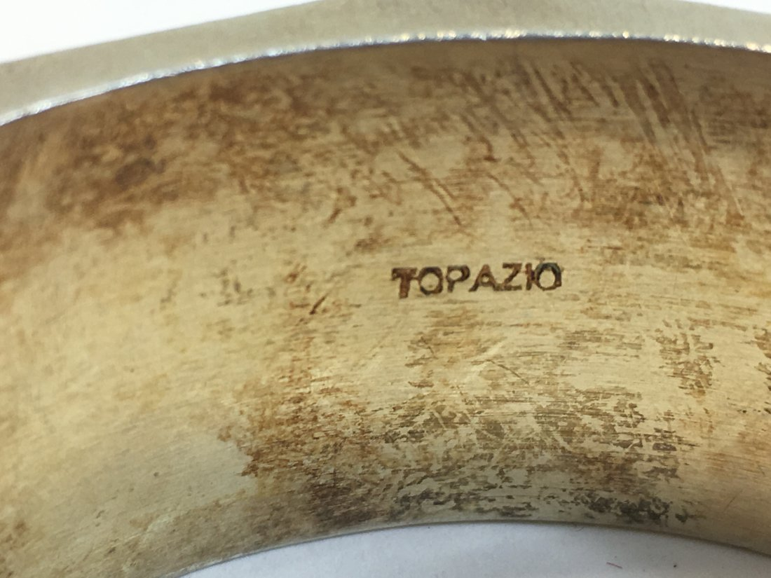 Vintage Topazio Sterling Silver Vermeil Enamel Bracelet - 3