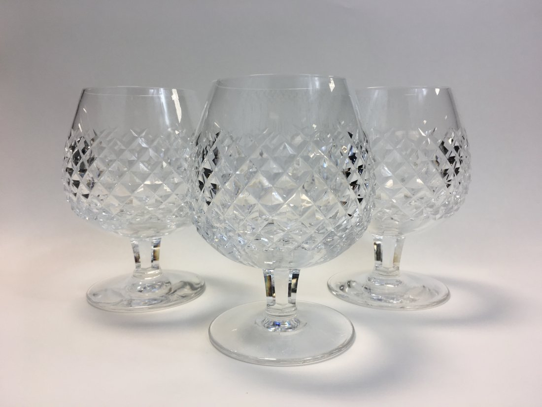 3 Waterford Crystal Alana Brandy Snifters