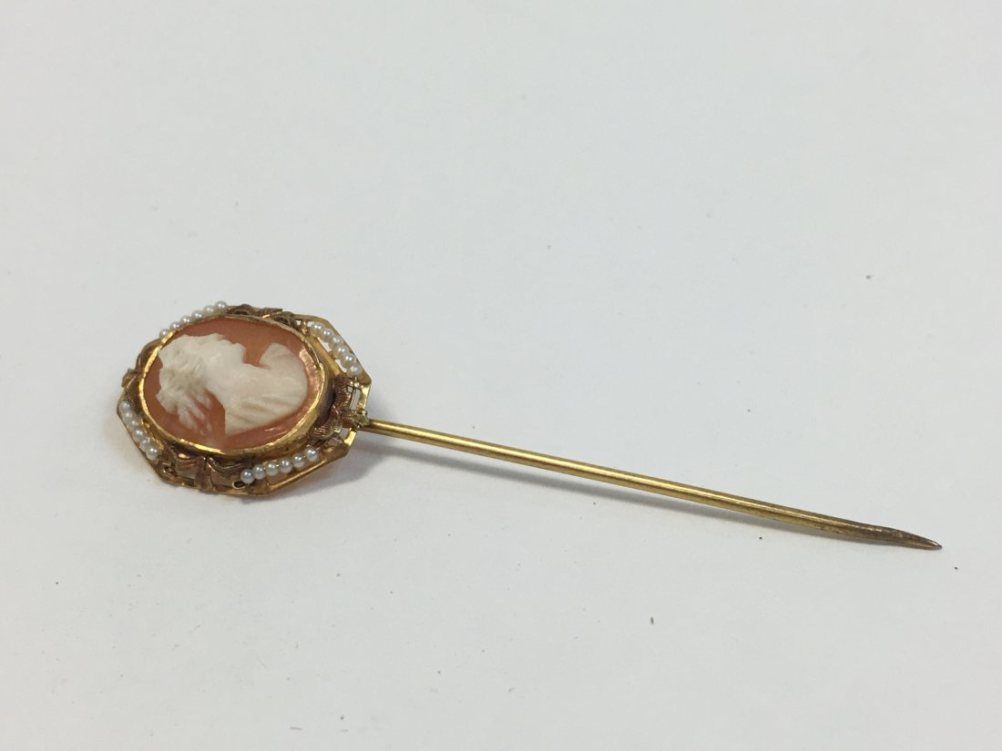 Vintage 10K Gold & Seed Pearls & Cameo Stick Pin