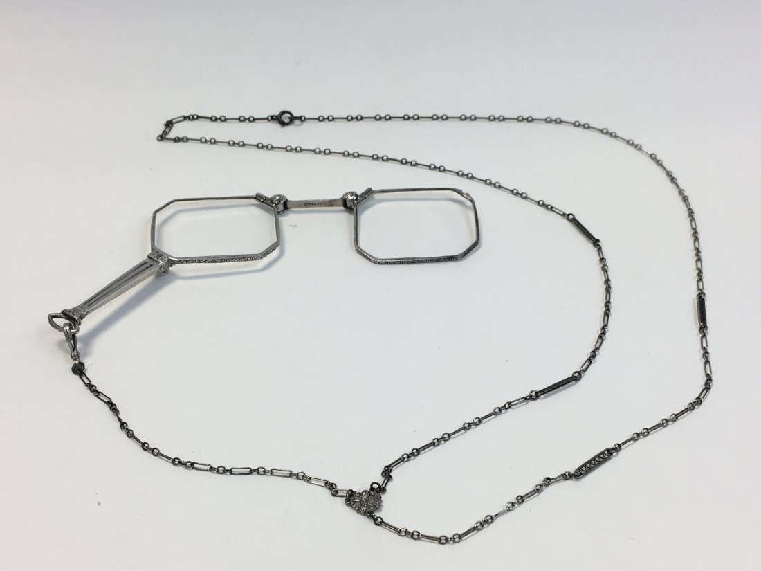 Sterling Silver Lorgnette Glasses on Long Neck Chain